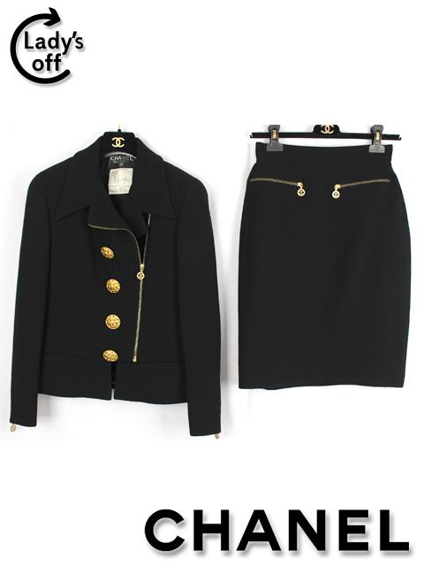 シャネル [ CHANEL ] ヴィンテージ ツイード ライダース スーツ ブラック 黒 SIZE[40] レディース ビンテージ ジャケット スカート