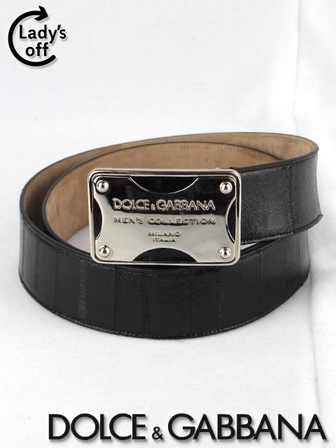 ドルチェ&ガッバーナ [ DOLCE&GABBANA ] うなぎ革ロゴプレート レザー ベルト ブラック 黒 BC2369 メンズ 紳士用 男性用