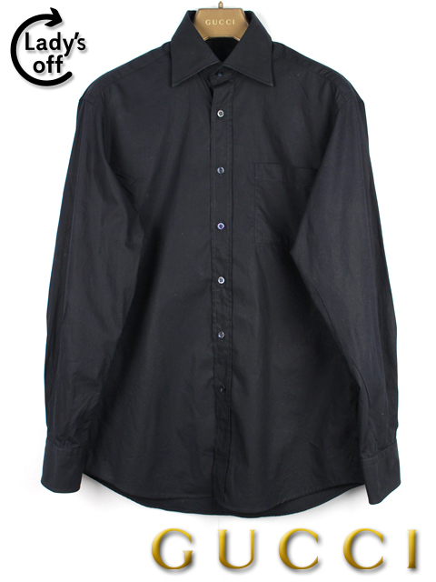 グッチ [ GUCCI ] ドレスシャツ ブラック 黒 長袖 メンズ トップス カジュアルシャツ カッターシャツ ワイシャツ