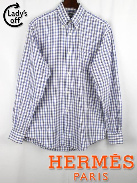 エルメス [ HERMES ] セリエ チェック柄 シャツ 長袖 白 青 メンズ トップス カッターシャツ ワイシャツ