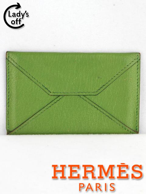 エルメス [ HERMES ] ミルファイユ グリーン E刻印 名刺入れ カードケース