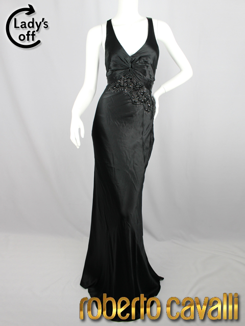クラスロベルトカヴァリ [ CLASS roberto cavalli ] フラワー 装飾 ドレス ワンピース ブラック 黒 SIZE[42] レディース パーティ ロングドレス 定価126000円