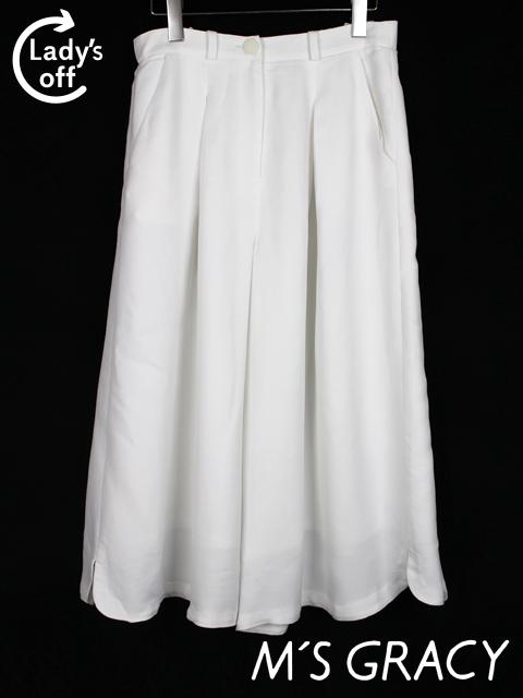 エムズグレイシー [ M'S GRACY ] ガウチョパンツ ホワイト 白 SIZE[40] レディース ボトムス ワイドパンツ フレアーパンツ スカーチョ