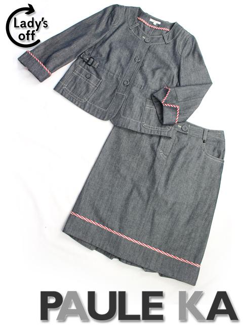 ポールカ [ PAUL KA ] ノーカラー デニム セットアップ スーツ SIZE[38] レディース ジャケット スカート