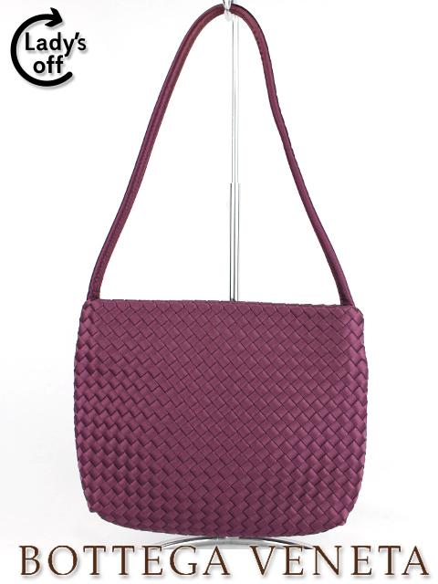 ボッテガヴェネタ [Bottega Veneta] サテン イントレチャート ハンドバッグ パープル 紫