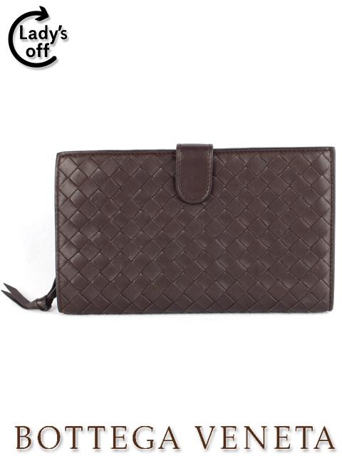 ボッテガヴェネタ [Bottega Veneta] イントレチャート 二つ折り 長財布 ブラウン 茶色 レディース 女性用 婦人用 イントレ 財布