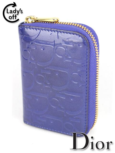 クリスチャン・ディオール [ Dior ] エナメル トロッター柄 ファスナー コンパクト 財布 紫 レディース ウオレット