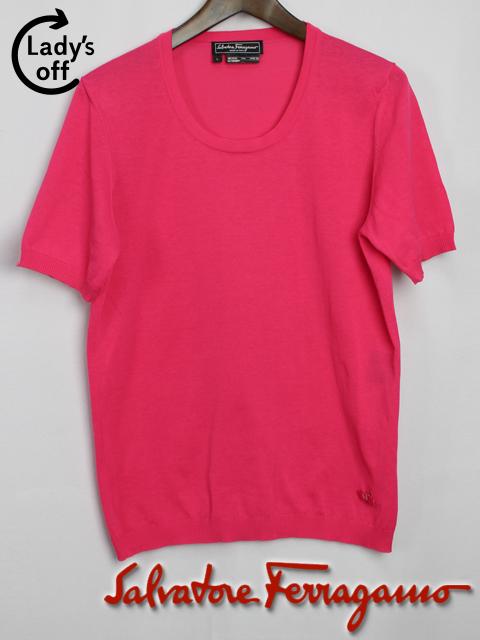 フェラガモ [ Ferragamo ] ヴァラリボン カットソー ピンク 半袖 SIZE[L] レディース トップス ニット セーター