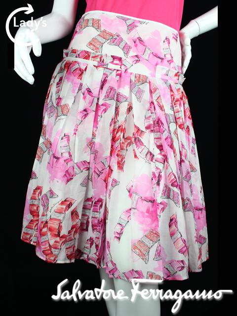 フェラガモ [ Ferragamo ] ヴァラリボン フリル フレアースカート SIZE[42] レディース ボトムス