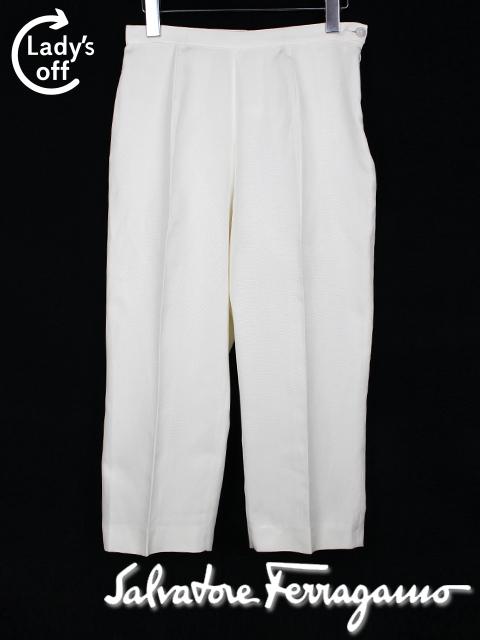 フェラガモ [ Ferragamo ] スラックス ホワイト ワイドパンツ レディース ボトムス 白