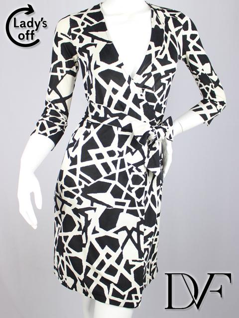 ダイアンフォンファステンバーグ [ DIANE ] シルクジャージ ラップワンピース 黒白 SIZE[2] レディース チュニック ドレス