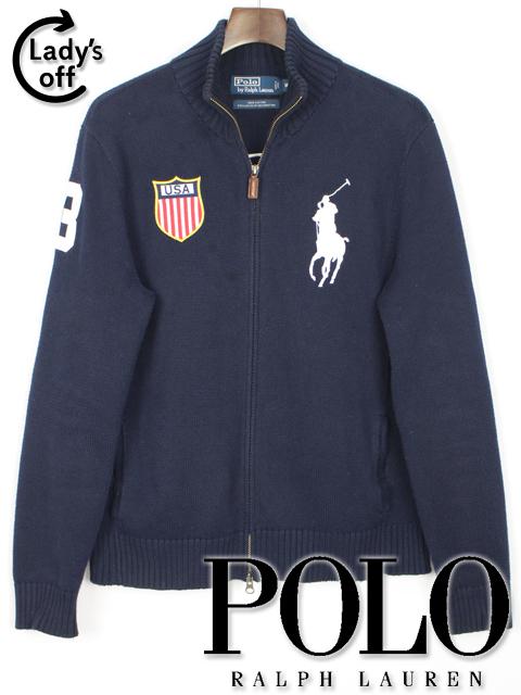 ポロ ラルフローレン [ Polo by RalphLauren ] ビッグポニー ジップアップ サマーニット セーター [M] メンズ トップス ネイビー 紺色 長袖