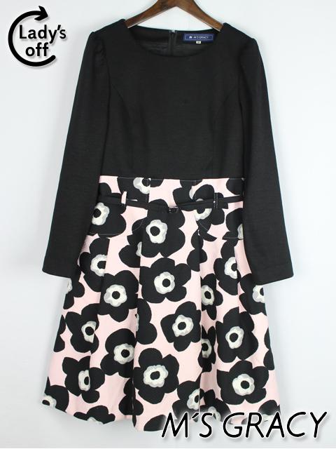 エムズグレイシー [ MS GRACY ] ベルト フラワー フレアー ワンピース 黒 SIZE[40] レディース ピンク 花柄