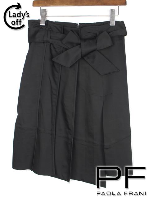 パオラフラーニ [ paolafrani ] リボンベルト プリーツ スカート 黒 レディース ボトムス フレアースカート