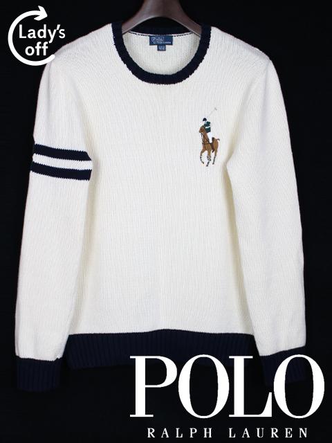 ポロ ラルフローレン [ Polo by RalphLauren ] ビッグポニー サマーニット セーター 白 長袖 SIZE[XL] メンズ トップス