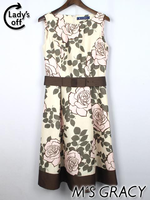 エムズグレイシー [ MS GRACY ] リボンベルト バラ柄 フレアーワンピース SIZE[38] レディース 薔薇柄
