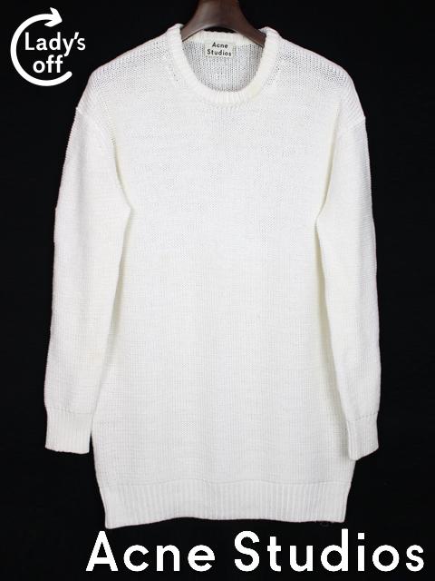 アクネ [ Acne Studios ] ファスナー加工 ロングニット セーター 白 長袖 SIZE[XS] メンズ トップス カットソー