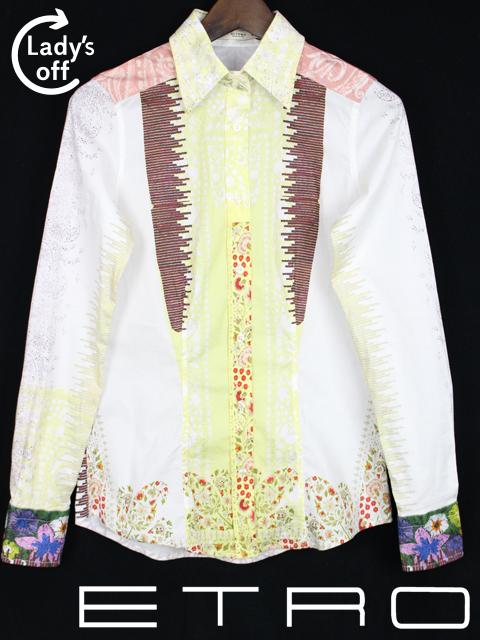 エトロ [ ETRO ] フラワー コットン シャツ ブラウス 白 長袖 SIZE[38] レディース トップス カジュアルシャツ 花柄