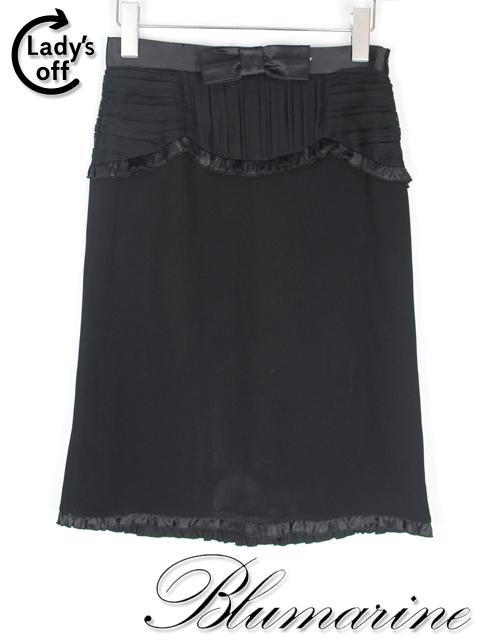 ブルマリン / ブルーガール [ Blumarine ] リボン フリル スカート 黒 SIZE[I38 D32] レディース ボトムス
