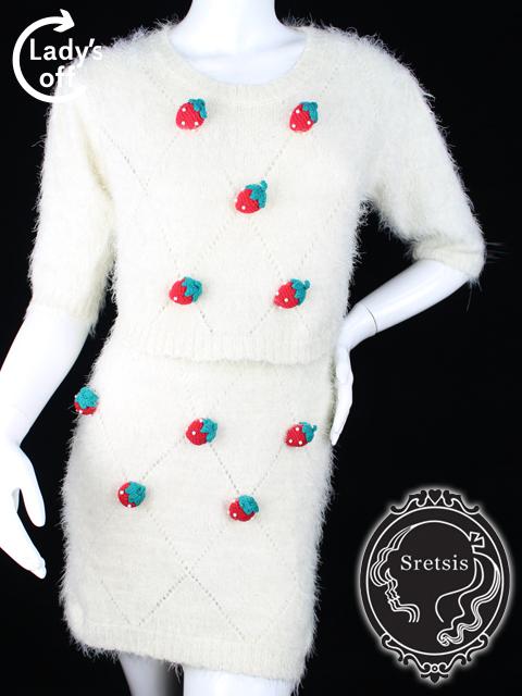 スレトシス [ sretsis ] ストロベリー ニット セットアップ ワンピース 白 レディース ニット セーター スカート