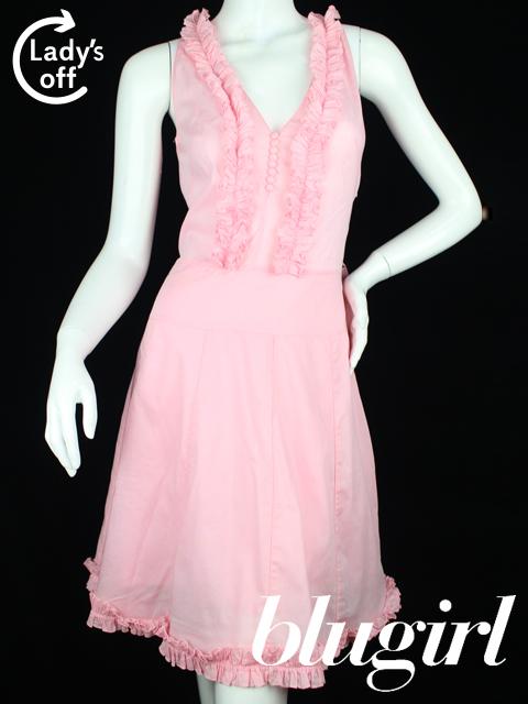 ブルーガール / ブルマリン [ Blugirl ] フリル フレアー ワンピース ピンク SIZE[I38 D32] ノースリーブ リボン ワンピ