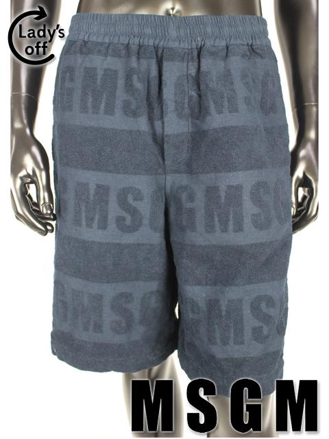 MSGM [ エムエスジーエム ] 16ss パイル ロゴ ショートパンツ ネイビー 紺色 SIZE[48] メンズ ボトムス ハーフパンツ