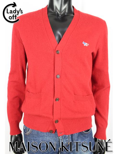 メゾンキツネ [ MAISON KITSUNE ] カシミヤ ニット カーディガン レッド 赤 長袖 SIZE[M] メンズ トップス セーター