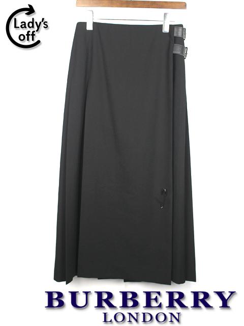 バーバリー ロンドン [ BURBERRY ] プリーツ ロングスカート ブラック 黒 SIZE[38]