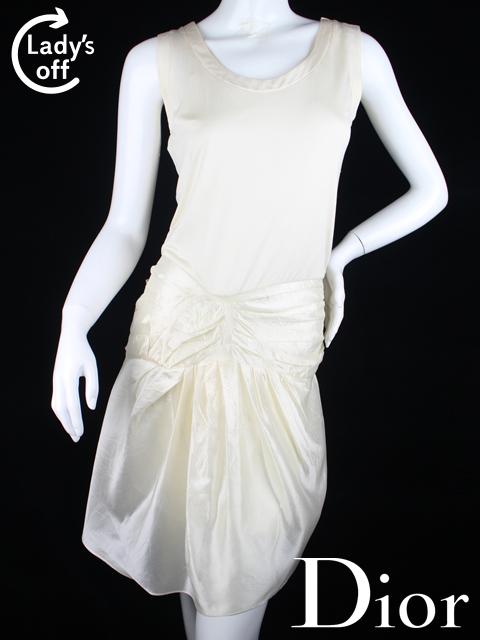 クリスチャンディオール [ Dior ] リボン フレアー ワンピース 白 レディース ノースリーブ ディオール