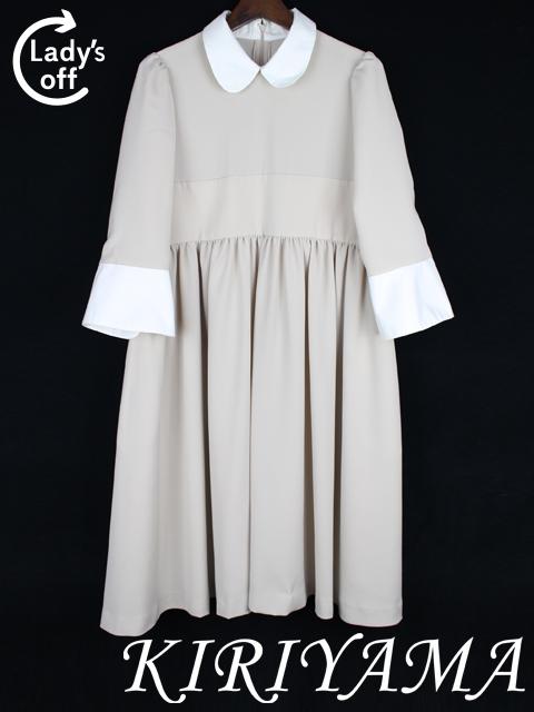 キリヤマ [ KIRIYAMA ] 丸襟 フレアー ワンピース ベージュ×白 ケイガーデン Kガーデン