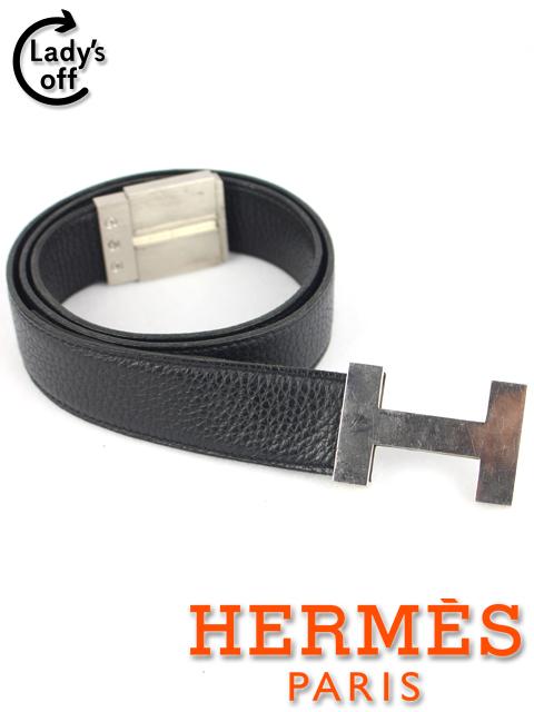 エルメス [ HERMES ] Hベルト トリヨンクレマンス 黒×シルバー金具 SIZE[85] I刻印