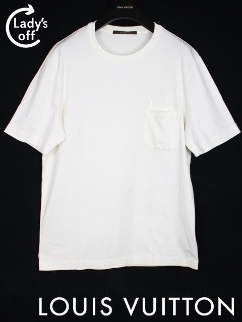 ルイヴィトン [ LOUISVUITTON ] モノグラム柄 ポケット Tシャツ 半袖 白 SIZE[L] メンズ トップス カットソー