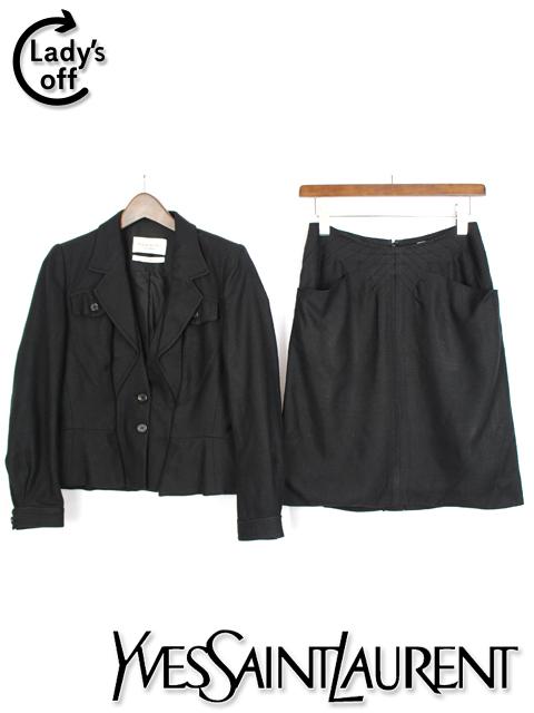 イヴ サンローラン [ SAINT LAURENT ] セットアップ スカート スーツ ブラック 黒 SIZE[F38] レディース ジャケット