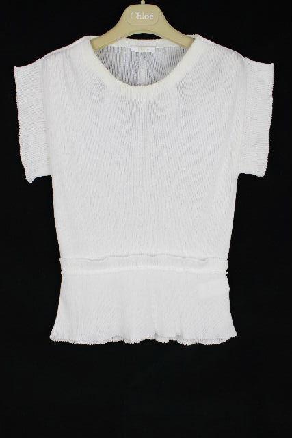 クロエ [ Chloe ] フリル ニット カットソー ホワイト 白 半袖 SIZE[S] レディース トップス