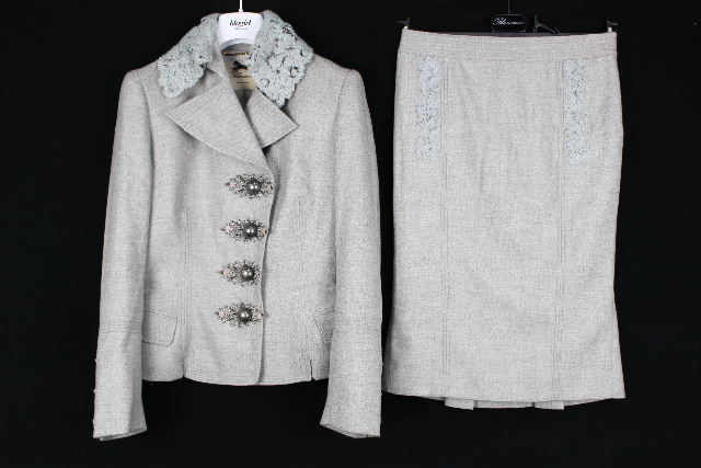 ブルマリン / ブルーガール [ Blumarine ] カシミヤ混 セットアップ スーツ グレー レディース ジャケット スカート