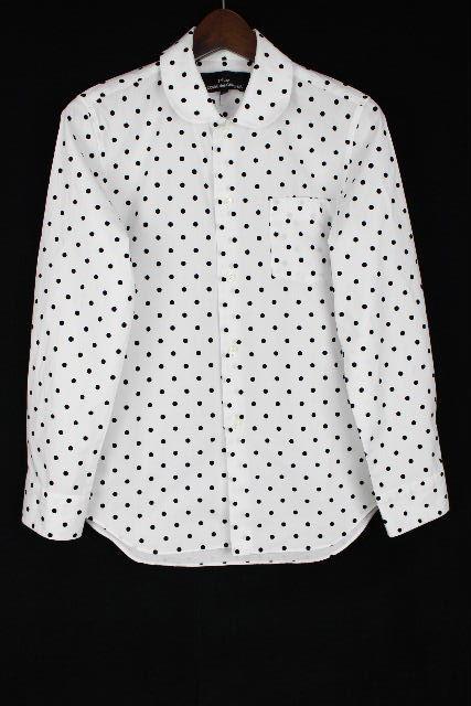 コムデギャルソン [ COMME des GARCONS ] ドット柄 丸襟 シャツ ブラウス 白 黒 長袖 SIZE[S] レディース トップス ギャルソン