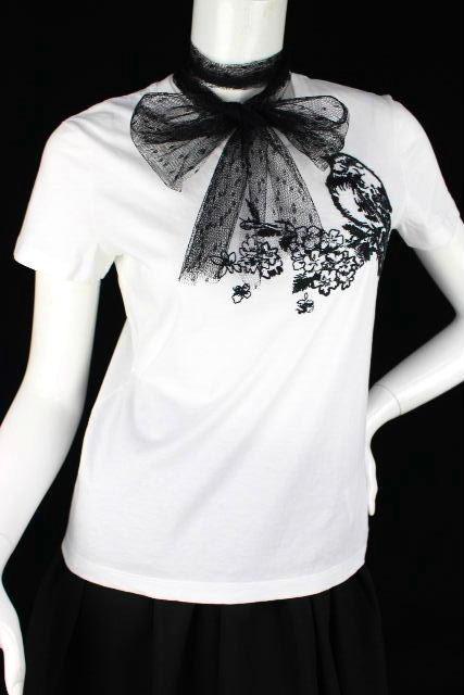 レッドヴァレンティノ [ VALENTINO ] チュールレース リボン 刺繍 カットソー 白 半袖 SIZE[S] レディース トップス ティーシャツ Tシャツ