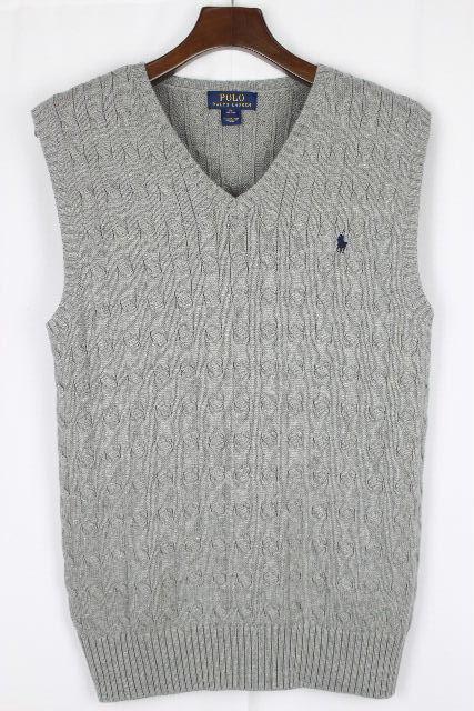 ポロ ラルフローレン [ Polo by RalphLauren ] ホースマーク ケーブル編 ニット ベスト グレー SIZE[XL] メンズ トップス セーター