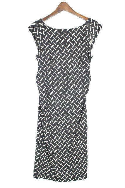 ダイアン・フォン・ファステンバーグ [ DIANE ] 幾何学模様 シルクジャージ ワンピース 黒 白 SIZE[2] ドレス ワンピ ダイアン