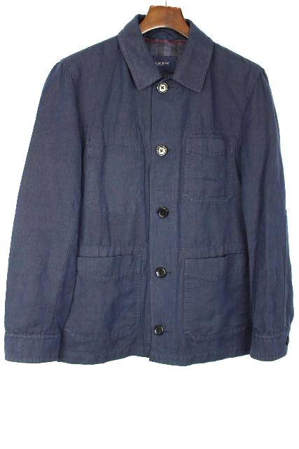 バーバリーロンドン [ BURBERY ] リネン ジャケット ネイビー 紺色 SIZE[M] メンズ トップス アウター コート 麻