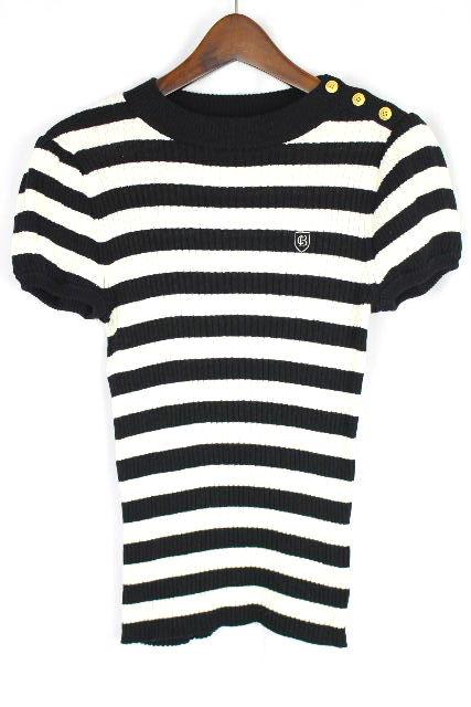 ブルーレーベルクレストブリッジ [ BLUELABEL ] Bロゴ刺繍 ボーダー ニット カットソー 白黒 SIZE[38] レディース トップス 半袖