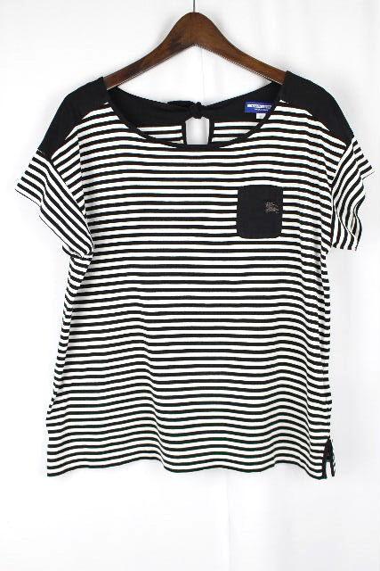 バーバリーブルーレーベル [ Burberry ] ボーダー リボン カットソー 白黒 半袖 SIZE[38] レディース トップス Tシャツ