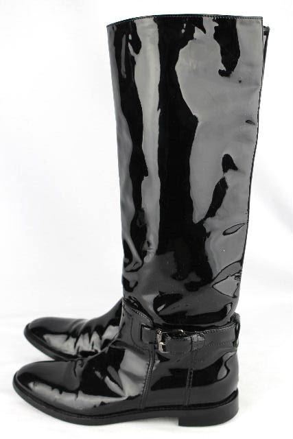 セルジオロッシ [ sersio rossi ] エナメル ロングブーツ ブラック 黒 SIZE[37] レディース ブーツ ロッシ ローヒール フラット