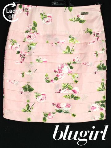 ブルーガール / ブルマリン [Blugirl ] バラ柄 ティア―ド フリル スカート ピンク SIZE[I38 D32] レディース ボトムス フラワー 花柄 薔薇柄