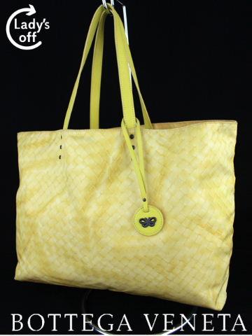 ボッテガヴェネタ [Bottega Veneta] イントレッチオリュージョン トートバッグ イエロー ナイロン イントレチャート イントレ プリント バッグ