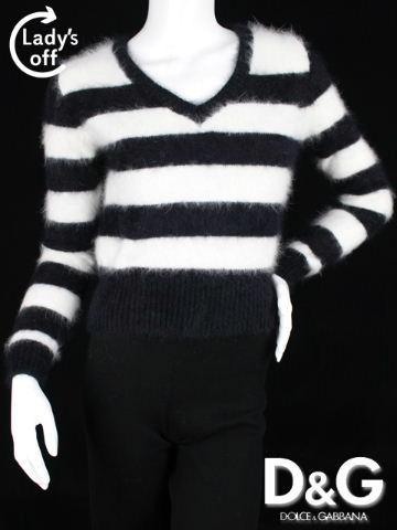 D&G [ ドルチェ&ガッバーナ ] ボーダー ニット セーター 長袖 黒 白 SIZE[XS] レディース トップス Vネック