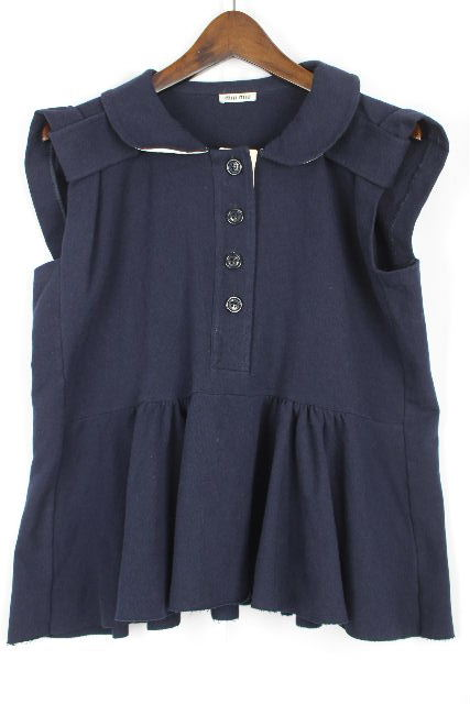ミュウミュウ [ miumiu ] 丸襟 フリル プルオーバー ネイビー 紺色 SIZE[XS] レディース ノースリーブ カットソー