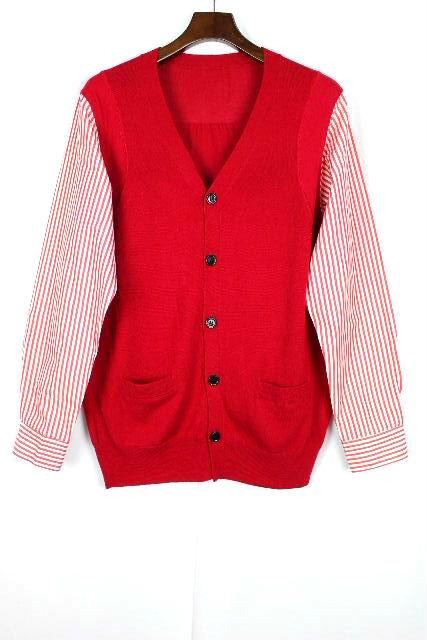 コムデギャルソン [ COMME des GARCONS ] シャツ ニット カーディガン レッド 赤 長袖 SIZE[M] メンズ トップス ストライプ カーデ