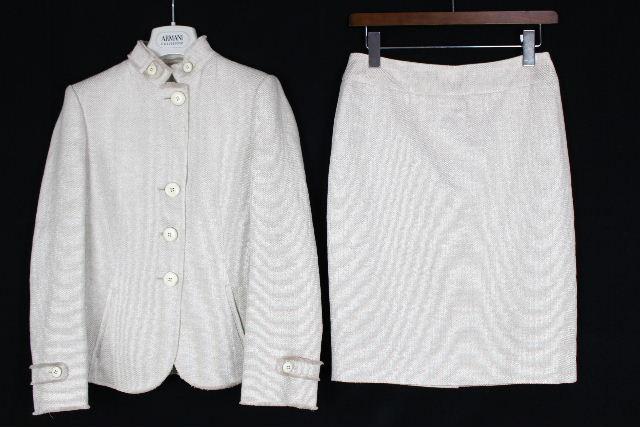 アルマーニ コレツィオーニ [ ARMANI ] リネン スカート スーツ SIZE[38] レディース ジャケット セットアップ