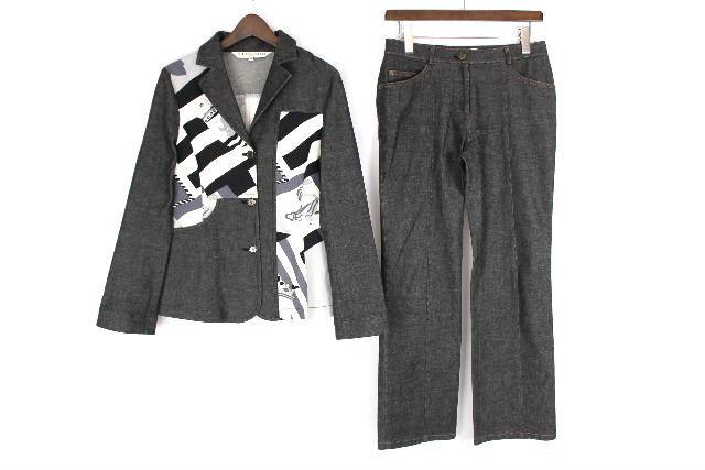 レオナール [ LEONARD ] パンツ セットアップ ストレッチ スーツ グレー SIZE[38] レディース ジャケット幾何学模様 柄物